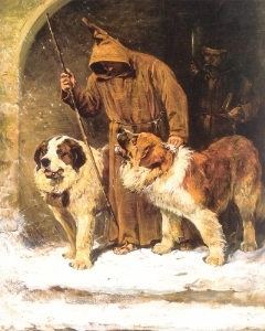 Monk with saint bernards